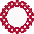 8 PLATES 22.8CM RUBY RED DOTS