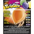15 ASSORTED SOLID COLOR PARTY GLOW LIGHT UP BALLOONS