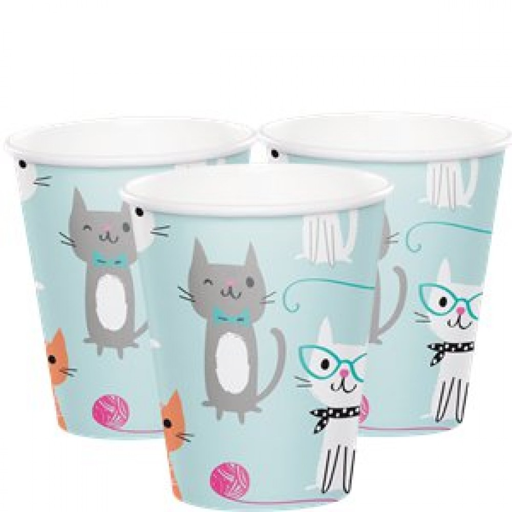 PURRFECT PARTY 8 HOT/COLD PAPER CUPS [256ml/ 9floz]