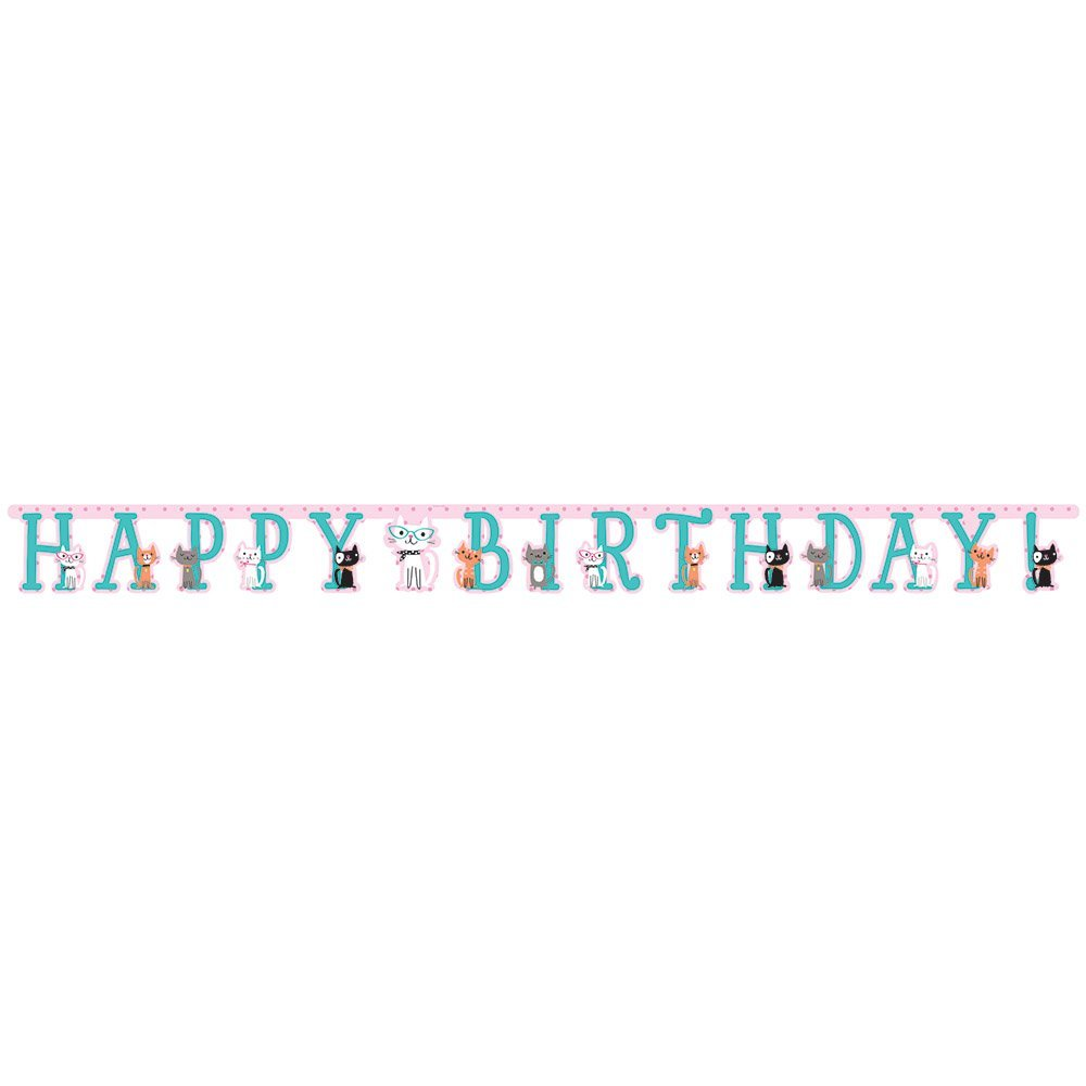 PURRFECT PARTY HAPPY BIRTHDAY JOINTED BANNER [2.1m/ 7ft]